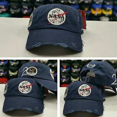 NAVY Field Grade Distressed NASA Brand Dad Strapback Snapback Hat ](Grad Hat)