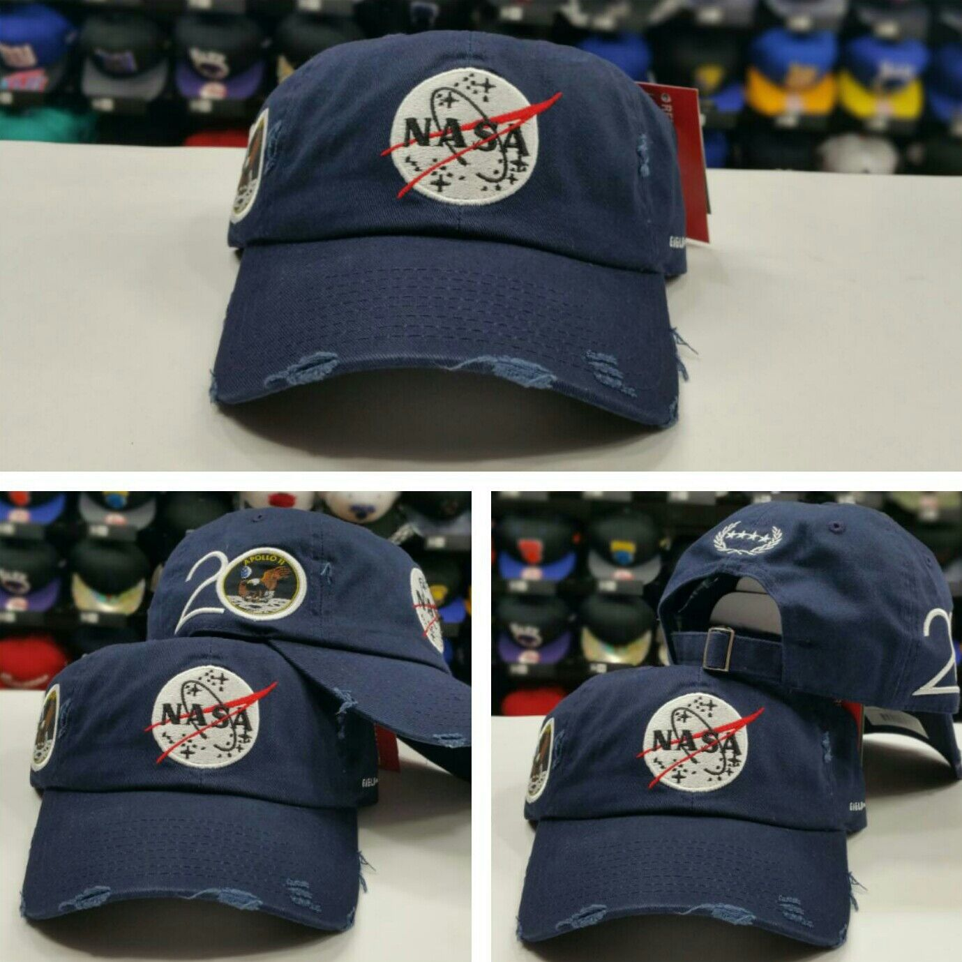Details about NAVY Field Grade Distressed NASA Brand Dad Strapback Snapback  Hat b8d89d2b365
