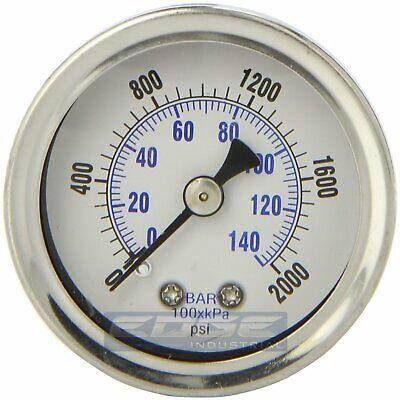 Liquid Filled Pressure Gauge 0-2000 Psi 1.5 Face 18 Npt Back Mount