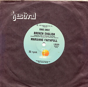 MARIANNE-FAITHFULL-BROKEN-ENGLISH-BONUS-SINGLE-7-33-VINYL-RECORD-1979