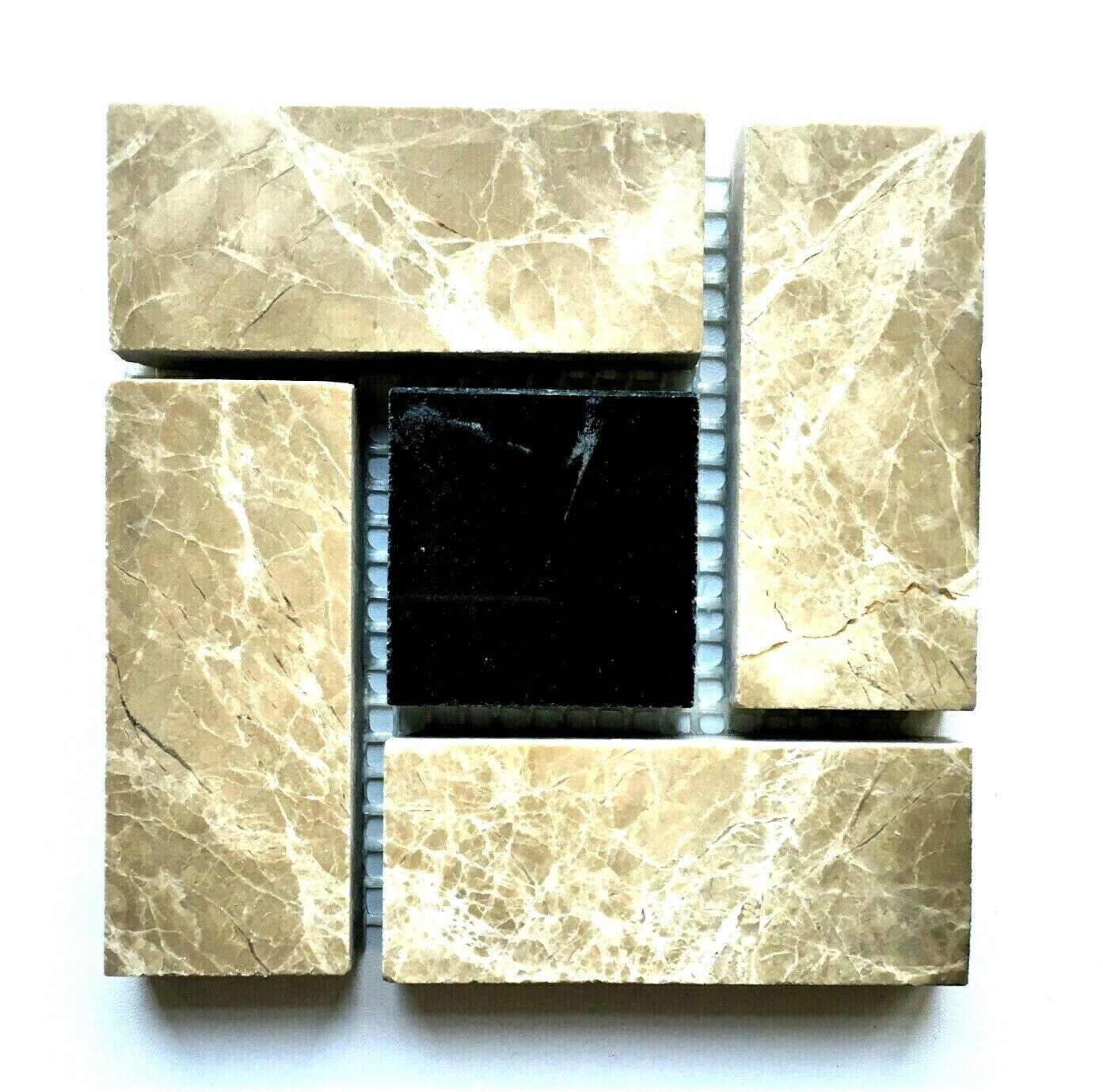 Pinwheel Emperador and Black Marble 4x4 Decorative Insert Wall Tile Backsplash