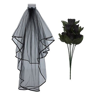 HALLOWEEN CORPSE BRIDE BLACK WEDDING VEIL ROSES DAY OF THE DEAD FANCY DRESS - Halloween Corpse Bride Veil