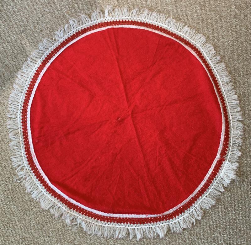 """Vintage Handmade Fringe Trimmed Felt Christmas Tree Skirt Red White Holiday 37"""""""