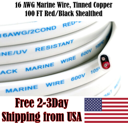 16 AWG Gauge Red Black Tinned Copper Outdoor Trailer Marine Wire Boat Cable 100