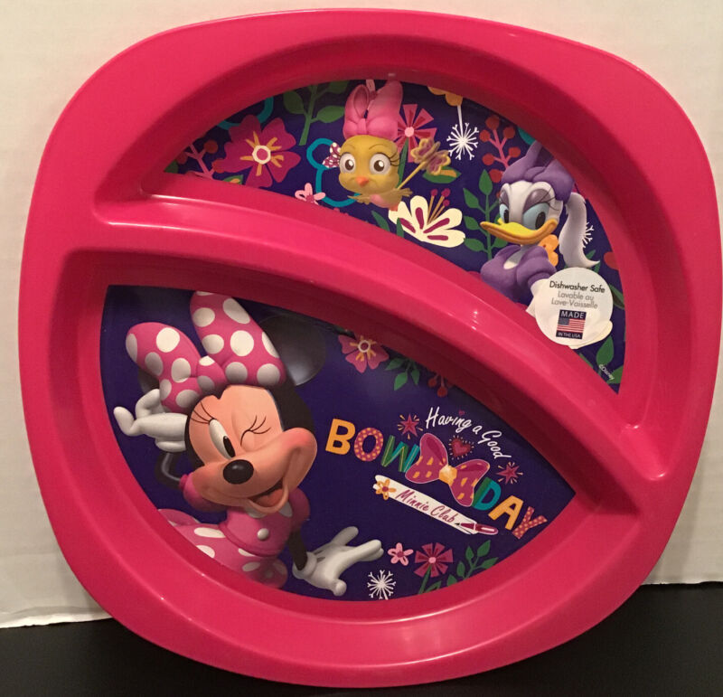 Disney Pink Minnie Mouse Kids Girls Divided Plate Dishwasher & Microwave Safe
