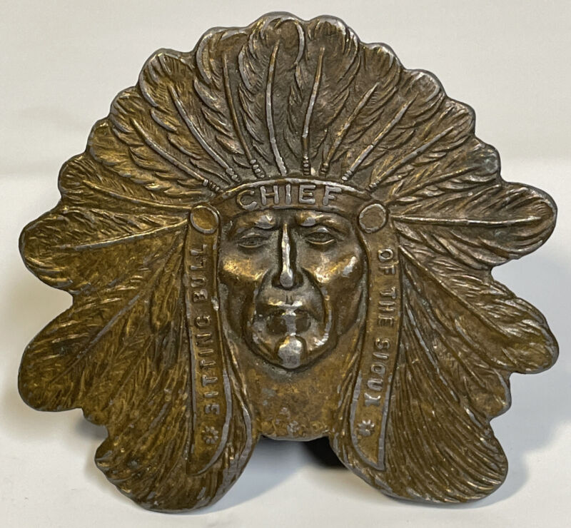 Vtg Tiffany Studio Indian Sitting Bull Chief Of The Sioux Brass Belt Buckle