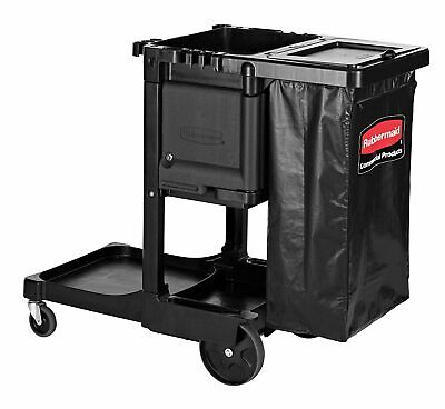 Rubbermaid Executive Janitorial Cleaning Cart Traditional Black Pn 1861430