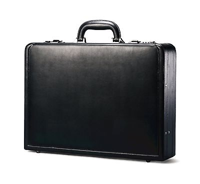 Samsonite Business Genuine Leather Bonded Expandable Briefcase Attache, Black