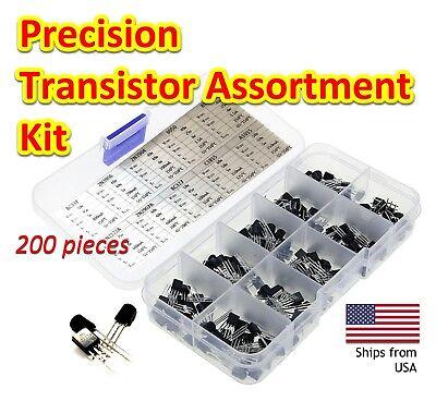 200pcs Npn Pnp 10 Value Precision Transistor Assortment Kit