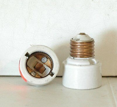 (2 Leviton Light Lamp Socket Extension - Copper & Porcelain -  Medium Base)