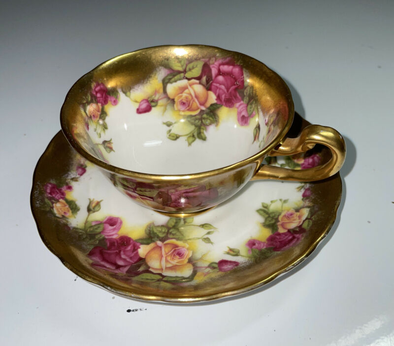 "Vintage New Chelsea Staffs ""Golden Rose"" teacup set. Hand Painted, England."