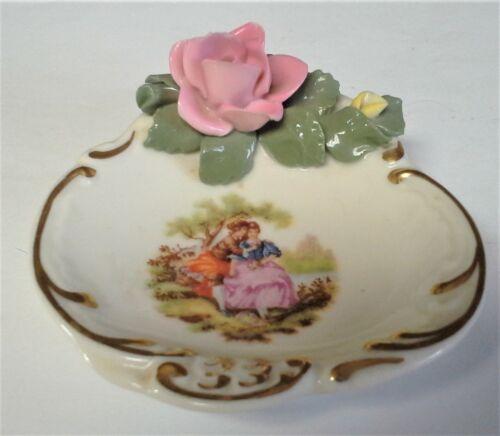 Vintage Dresden Fragonard Porcelain Pin Dish Bisque Rose 18th Century Courting