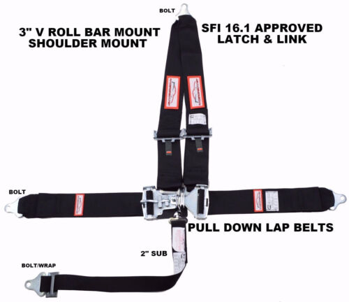 RACING HARNESS SEAT BELT 5 POINT BLACK SFI 16.1 LATCH & LINK RACERDIRECT
