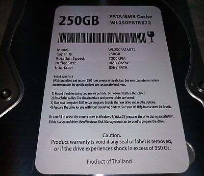 White Label 250 GB 7200 RPM 8 MEG Cache IDE Hard Drive Pulled Wiped ()