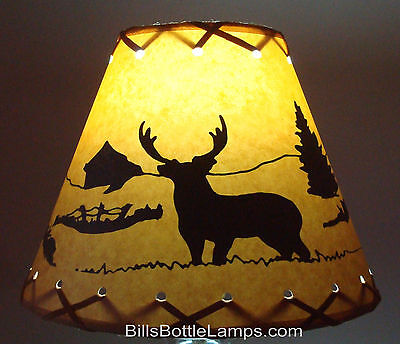 """DEER Table Light Cabin Cottage LAMP SHADE Clip-On Bulb Style 9"""" inch Laced Cone"""