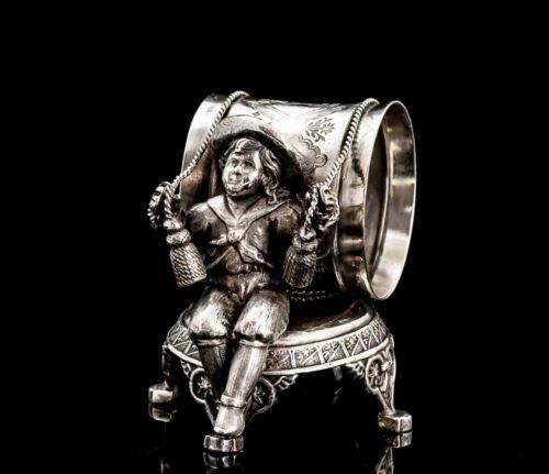 Victorian Silver Plate Figural Napkin Ring Kate Greenaway Sailor Boy #299
