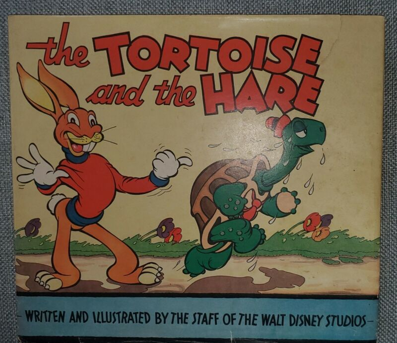 Vintage 1935 Disney The Tortoise and the Hare Book W/ Dust Jacket Excellent
