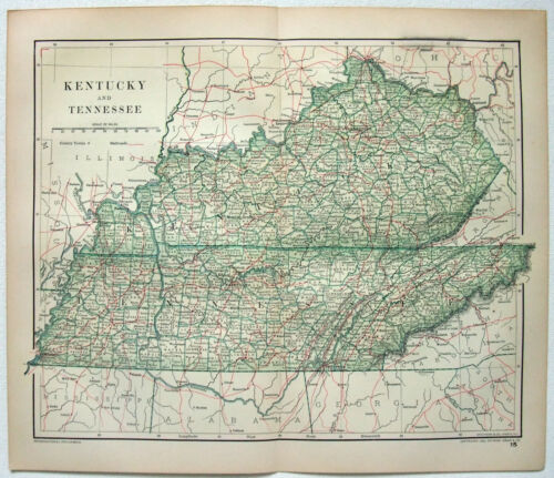 Original 1893 Map of Kentucky & Tennessee by Dodd Mead & Company. Antique