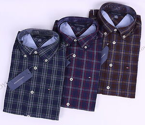 Tommy-Hilfiger-Men-Long-Sleeve-Classic-Fit-Button-Down-Plaid-Casual-Shirt-0Ship