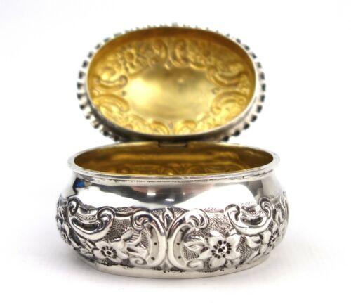 Antique Victorian Sterling Silver Trinket Box Floral Spray Gilt Interior 1898