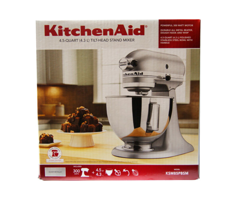 Kitchen Aid 4.5 Qt Tilt-Head Countertop Stand Mixer with 10 Speeds in Silver