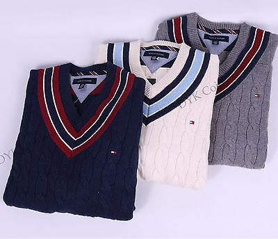 Tommy Hilfiger Men Cable Knit Cricket V-Neck Classic Sweater - Free $0 Shipping