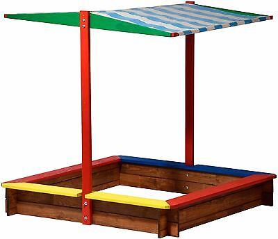 Großer Sandkasten mit Sonnendach Sandkiste Buddelkiste Holz Sandbox Dach Kinder