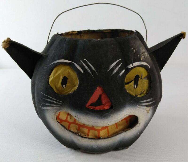 Paper Mache Black Cat Halloween Lantern Basket Painted Vintage Decoration