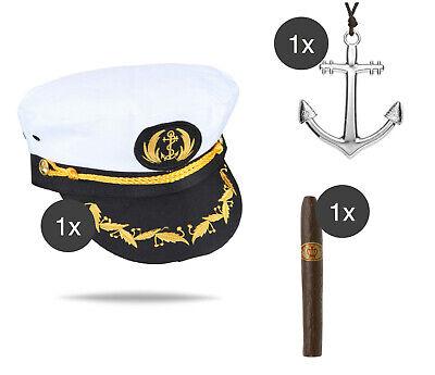 Kostüm Set Kapitän Kapitänsmütze Seemann Fasching Karneval Herren - Seemann Kapitän Kostüm