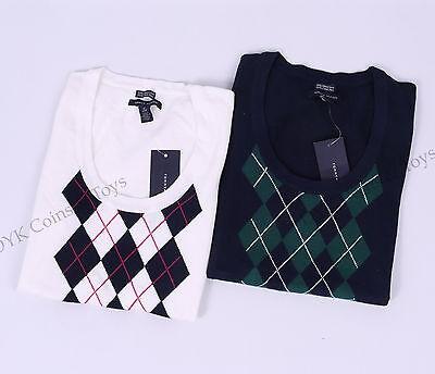 Tommy Hilfiger Women Scoop Neck Argyle Short Sleeve Sweater - Free $0 shipping
