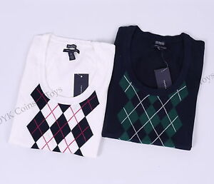 Tommy-Hilfiger-Women-Scoop-Neck-Argyle-Short-Sleeve-Sweater-Free-0-shipping