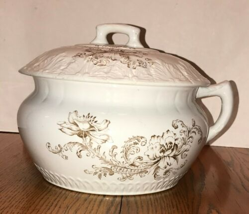 Antique Chamber Pot by Virginia, Brown Transfer ware Covered Victorian Flower