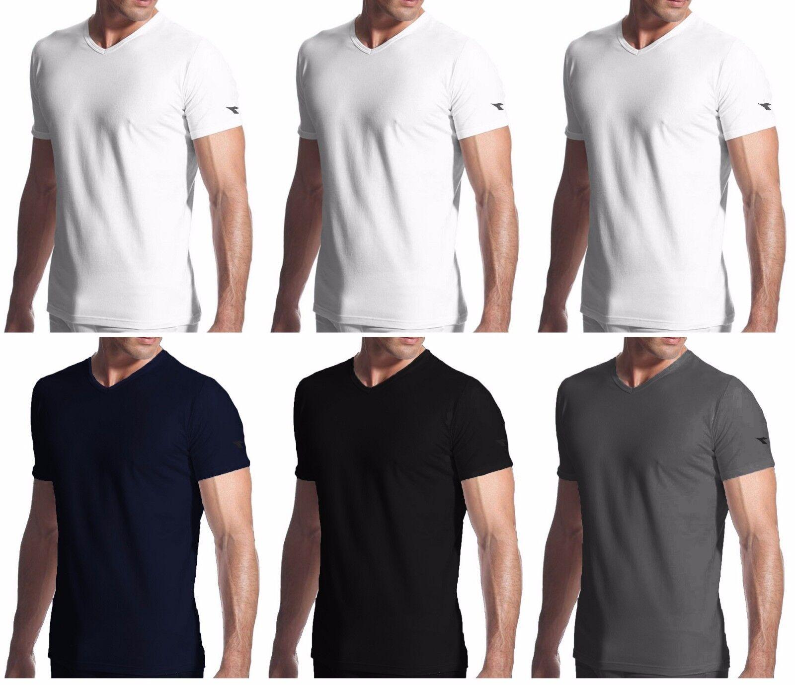 3 t shirt uomo mezza manica puro cotone scollo V DIADORA underwear art. 6068