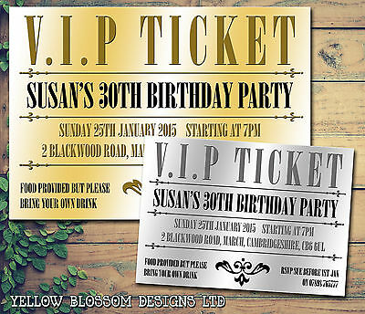 10 VIP Ticket Golden Silver Party Invite Personalised Birthday Party Invitations - Golden Ticket Birthday Invitation