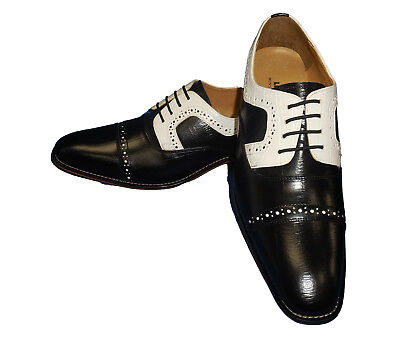Liberty LS1000 Mens Classic Perforated Spectator Spats Dress Shoes Black White