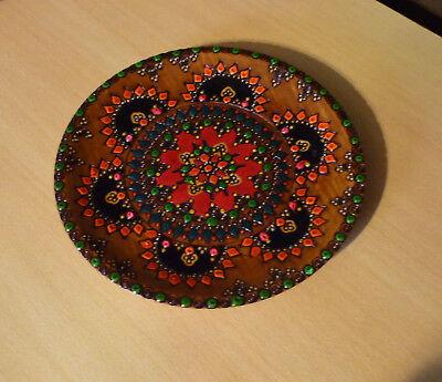 Houten decoratief bord groen rood geel oranje