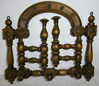 Old Small Wall Coat Rack Rotatable Haken-Holz Decorations um 1920