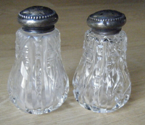 ANTIQUE CUT CRYSTAL & STERLING SILVER SALT & PEPPER SHAKERS