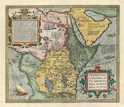 1571 / 1601 Abraham Ortelius Map of Africa - Kingdom of Prester John