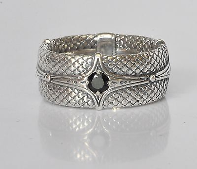 Konstantino Men's Ring Band Size 11 Sterling Silver Black Spinel Aeolus New