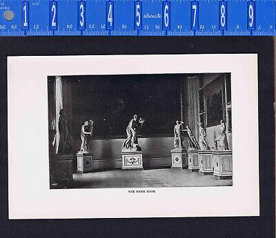 Uffizi Gallery - FLORENCE SCENE: Uffizi Gallery-Niobe Room-Greek Statues- 1909 Print