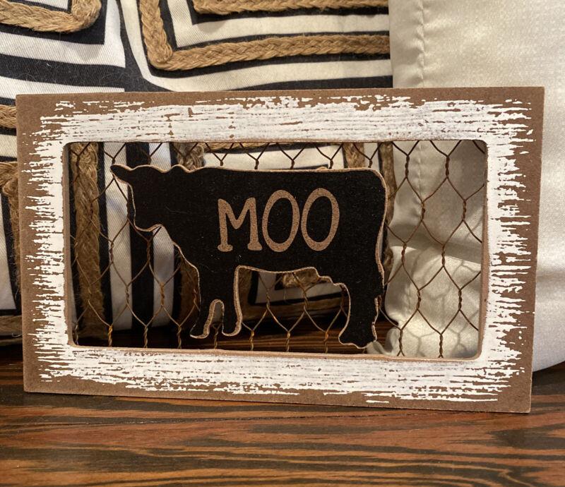 "MOO Black COW Wood Silhouette Chicken Wire Farmhouse Decor Sign 8"" x 4.75"""