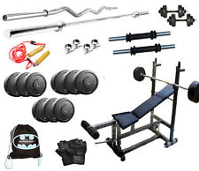 Home Gym Set 6 in 1 Bench weight 32 Kg with 3FT Curl Rod+5FT Plain Rod+ BAG