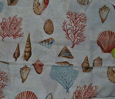 Indoor/Outdoor Sea Shells Cloth Tablecloth~Beach~Ivory~70 R~Zipper~Fabric~NEW](Beach Table Cloth)