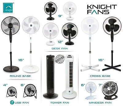 Knight Fans Stand Desk USB Oscillating Black & White Various Size Electric Fans