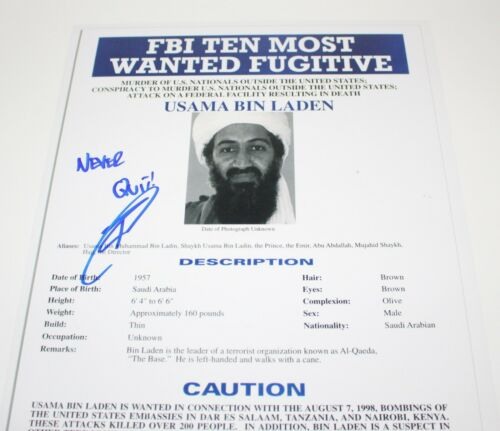 ROBERT O'NEILL SIGNED FBI MOST WANTED OSAMA BIN LADEN POSTER COA NAVY SEAL USAMA