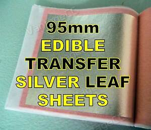 25x 95mm Pure 999 Silver Edible Transfer Leaf Sheets in Booklets, HUGE! Wedding