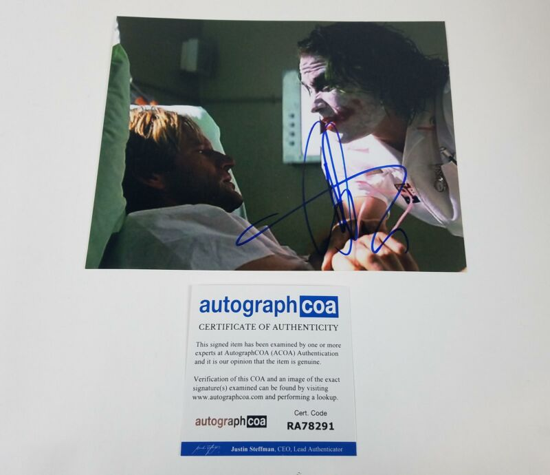 Dark Knight Aaron Eckhart Autographed Signed 8x10 Photo Dark Knight Joker ACOA