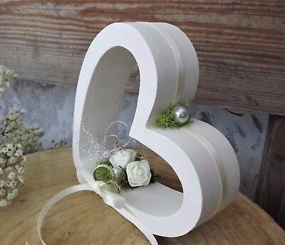 Ringkissen Ringhalter Holzherz Herz stehend creme weiß für Eheringe Hochzeit