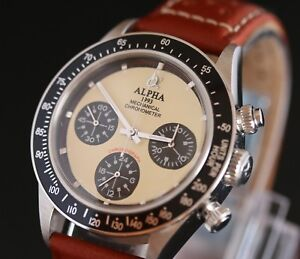 Alpha Chronograph Watch Seagull SG2903 Movement Glass Display Back Brown Strap